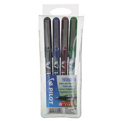 Pochette de 4 stylos feutre Pilot V-Ball 05 à bille pointe métal 0,3 mm - couleurs assorties