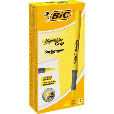 Surligneur Bic Grip - pointe biseautée 3,4 mm - jaune fluorescent