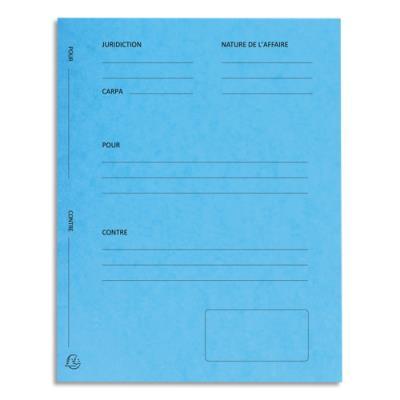 Dossiers de plaidoirie pré-imprimés Exacompta Pour / Contre - carte 265 g - bleu - paquet de 25