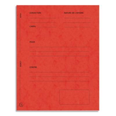 Dossiers de plaidoirie pré-imprimés Exacompta Pour / Contre - carte 265 g - rouge - paquet de 25
