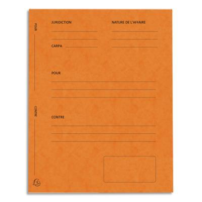 Dossiers de plaidoirie pré-imprimés Exacompta Pour / Contre - carte 265 g - orange - paquet de 25
