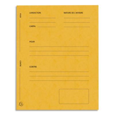 Dossiers de plaidoirie pré-imprimés Exacompta Pour / Contre - carte 265 g - jaune - paquet de 25
