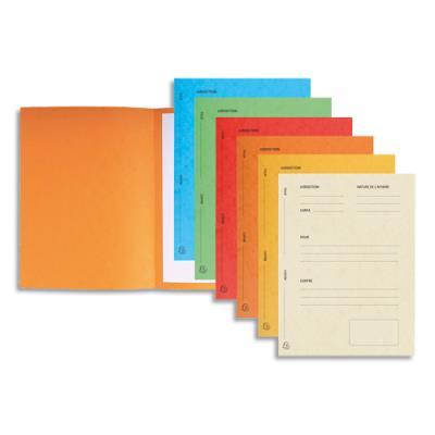 Dossiers de plaidoirie pré-imprimés Exacompta Pour / Contre - carte 265 g - coloris assortis - paquet de 25