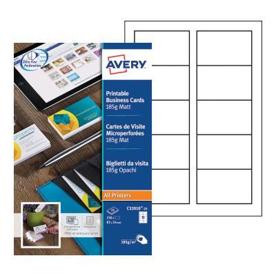 Cartes de visite blanches à bords micro perforés Avery - 85 x 54 mm - Impression laser - jet d'encre - copieur - paquet 250 unités