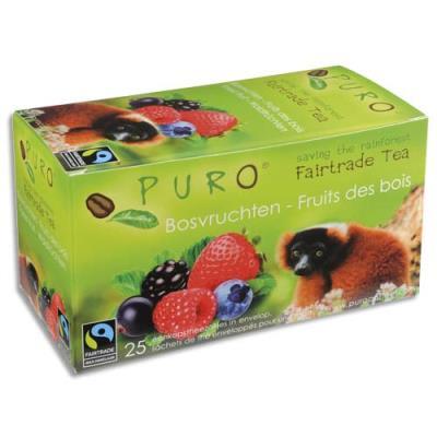 Thé aux fruits des bois Puro - commerce équitable - boîte de 25 sachets (photo)