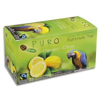 Thé au citron Puro - commerce équitable - boîte de 25 sachets (photo)