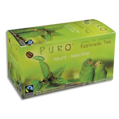 Thé à la menthe Puro - commerce équitable - boîte de 25 sachets (photo)