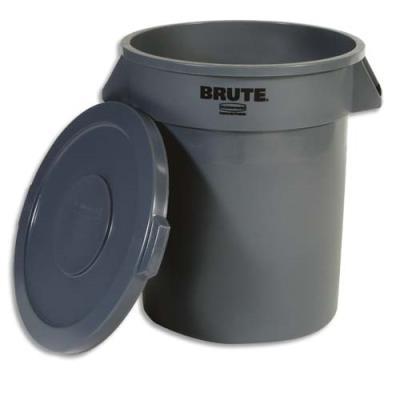 Poubelle collecteur Rubbermaid en polyéthylène -75 litres  - hauteur 58cm - gris (photo)