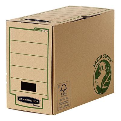 Boîte archives Earth Series carton dos 20 cm - pour format A4 - 210 x 297 mm - H. 255 mm x l. 205 mm x P. 319 mm - kraft naturel - 100% recyclé certifié FSC