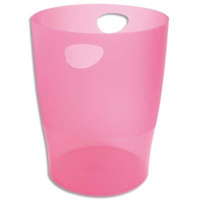 Corbeille à papier Exacompta Eco en polystyrène - 15 l - rose translucide (photo)