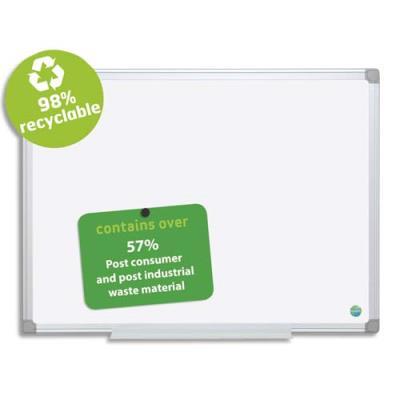Tableau blanc émaillé magnétique recyclable Bi Office - 120 x 90 cm - cadre aluminium