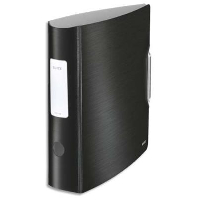 Classeur à levier Leitz Style 180° - polypropylène - dos 7,5 cm - fermeture par élastique - noir
