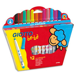 Etui 12 feutres de coloriage Giotto Be-Bè - pointe maxi ogive - coloris assortis (photo)