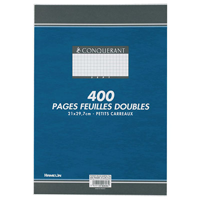 Copies doubles 400 pages - 5x5 A4 - 210 x 297 mm blanc 90g/m² - non perforées (photo)