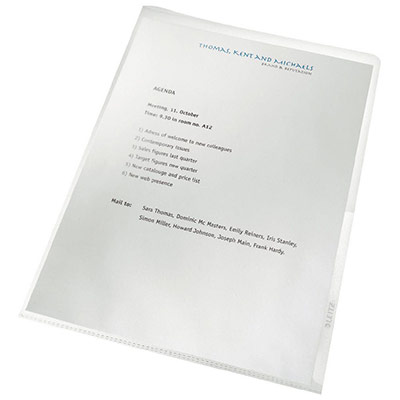 Boîte de 100 pochettes coin Leitz en polypropylène 13/100e 100% recyclées - transparent