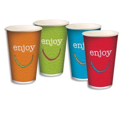 Gobelets de couleurs en carton pour boissons froides - 25 cl - coloris assortis - sachet de 100 (photo)