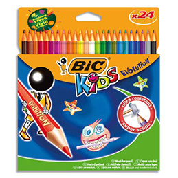 Etuis de 24 crayons de couleurs Bic Evolution - sans bois - coloris assortis (photo)
