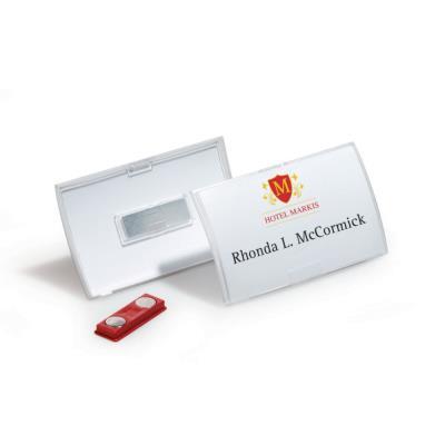 Badge à aimant Clickfold de Durable - format horizontal 5,4 x 9 cm - boite de 10 (photo)