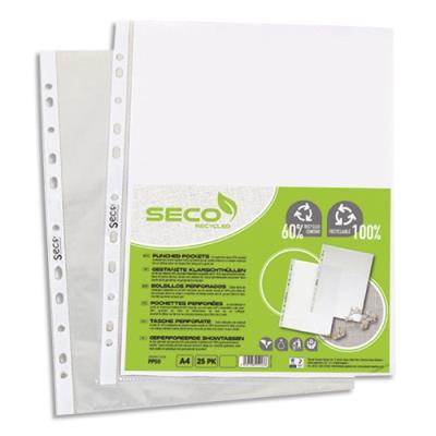 Pochettes perforées Seco - polypropylène grainé 5/100e - 100% biodégradable et recyclable - boîte de 100