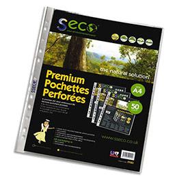 Pochettes perforées Seco - polypropylène grainé 8/100e - biodégradable et recyclable - boîte de 50 (photo)