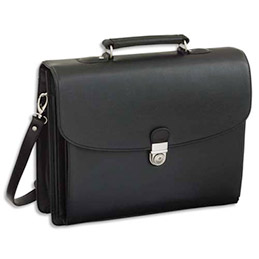 Attaché case avec 5 compartiments simili - cuir noir - 40 x 32 x 15 cm (photo)