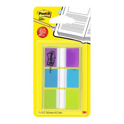 Set de 60 index Post it standards dans un dévidoir transparent 2,54x4,4cm