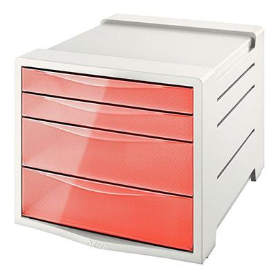Bloc de classement Esselte Colour'Ice - 14 L - L24,5 x H36,5 x P28,5 cm - 4 tiroirs - pêche