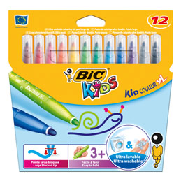 Etui de 12 feutres de coloriage Bic Kids Couleur XL - pointe XL - coloris assortis (photo)