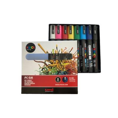Pochette 8 marqueurs peinture à eau Posca PC-5M - pointe conique polyester moyenne 2,5 mm - coloris assortis