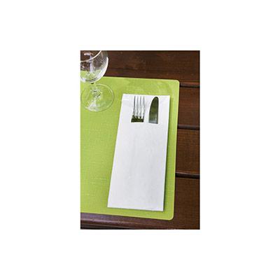 Pochette serviette à couverts Duniletto 40 x 48 cm - blanc - paquet 46 unités