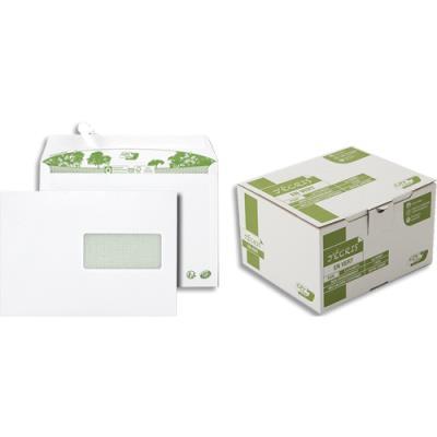 Enveloppes 100% recyclées 162 x 229 GPV Erapure - blanches - fenêtre 45x100 - auto-adhésive - 80 g - boite de 500 (photo)
