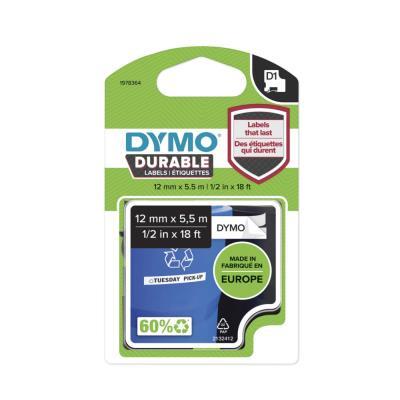 Ruban Dymo D1 durable - noir/blanc - 12 mm x 5.5 m