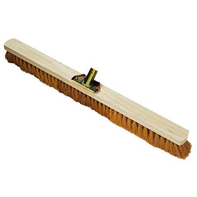 Balai coco d'intérieur - monture en bois - douille en métal - Largeur 80 cm (photo)