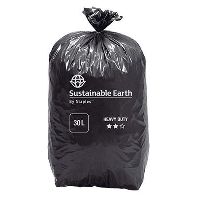 Sacs-poubelle recyclés à usage intensif - 30 l - 45 microns - 440 x 680 mm - noir - 25 unités par rouleau - 8 rouleaux de 25 sacs