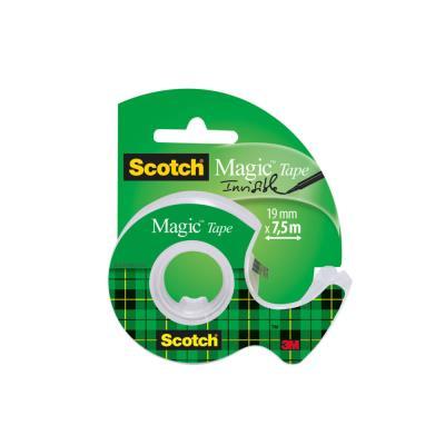 Ruban adhésif invisible Scotch Magic Tape - 19 mm x 7.5 m - sur dévidoir