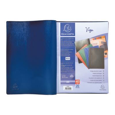 Porte-vue Exacompta Vega - format A4 - 40 pochettes - PVC - bleu