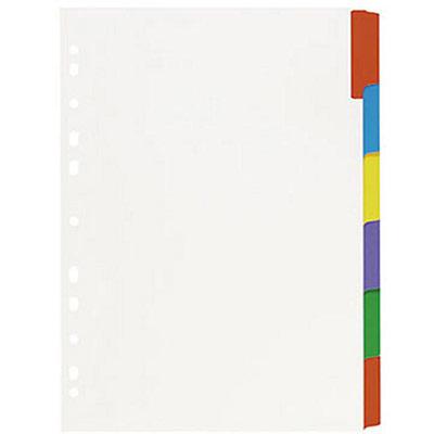 Intercalaires neutres A4 en carte - 6 divisions - blanc touches colorées - jeu 6 feuilles