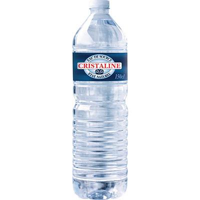 Eau de source naturelle plate Cristaline - bouteille 1,5 L - carton 2 x 6 bouteilles (photo)