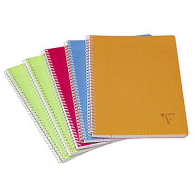 Cahier Clairefontaine Linicolor Fresh - reliure spirales - A4 - 100 pages - petits carreaux - couvertures polypro assorties