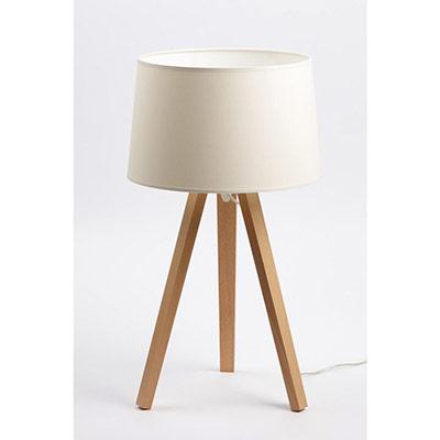 Lampe de bureau LED Essence - puissance 40W - culot E27 - trépied bois - abat-jour ivoire