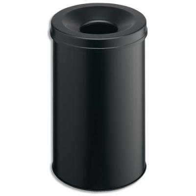 Corbeille à papier métal avec étouffoir - 31 litres noir - Antifeu ! (photo)