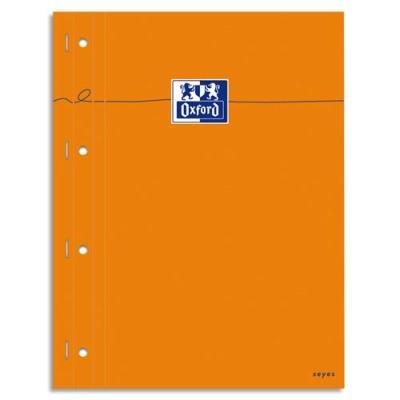 Bloc agrafé Oxford cotés perforé - réglure pleine page - format 23x29,7 cm - papier blanc grands carreaux Seyes (photo)