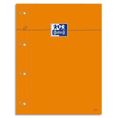 Bloc agrafé Oxford cotés perforé - réglure pleine page - format 23x29,7 cm - papier blanc petits carreaux 5x5 (photo)