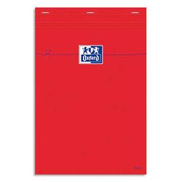 Bloc de direction Oxford rouge agrafé non perforé, réglure pleine page - format 21x29,7 cm - papier blanc petits carreaux 5 x 5 (photo)