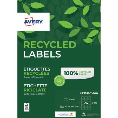 Etiquettes adresse laser recyclées Avery  LR7159 - impression laser - blanc - 63,5 x 33,9 mm - boîte de 2400