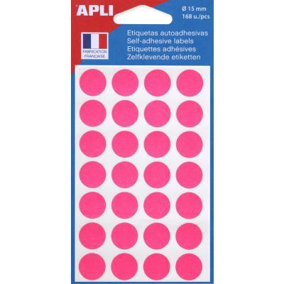 Pastilles adhésives de couleur Agipa - Ø 15 mm - pochette de 168 - coloris rose