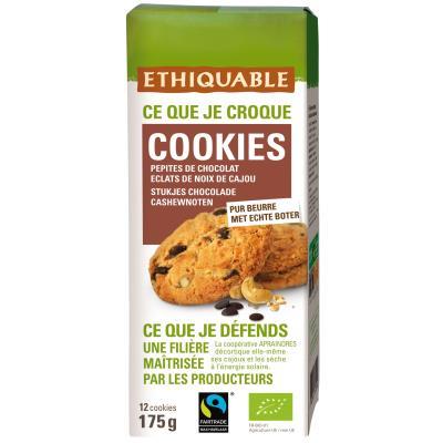 Cookies bio avec des pépites de chocolat et éclats de noix de cajou Ethiquable - sachetde 175 g