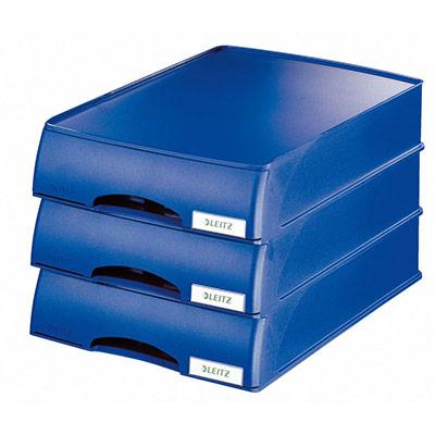 Corbeille à courrier Leitz avec tiroir - 35,7 x 7 x 25,5 cm - bleu