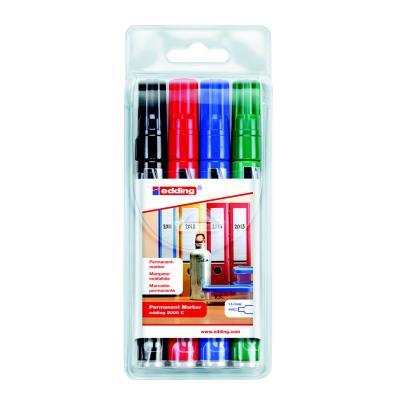 Marqueurs permanents E 2000 C à pointe ogive de 1,5 - 3 mm - couleurs assorties - paquet 4 unités