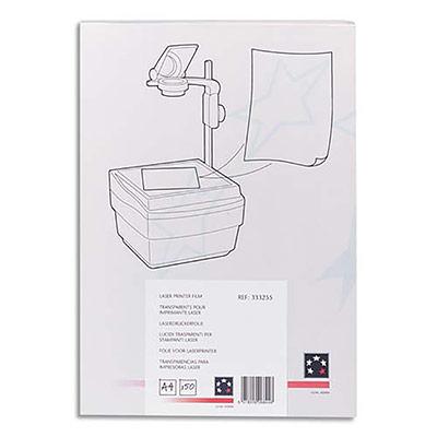 Transparents 1er prix - feuille contre-collée pour imprimante laser - boite de 100 (photo)